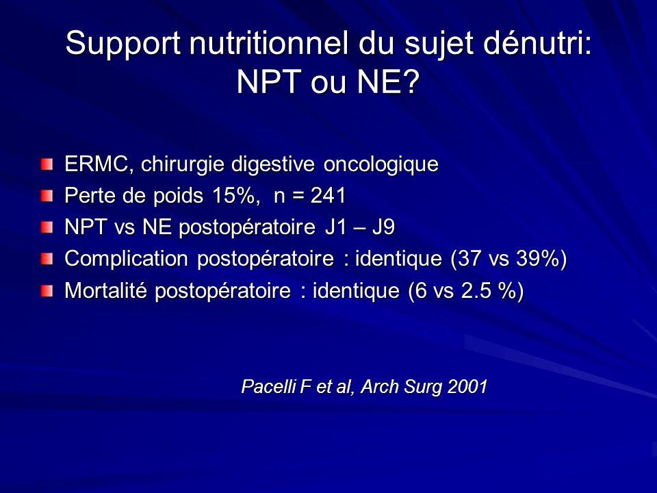 Support nutritionnel du sujet dénutri: NPT ou NE? ERMC, chirurgie digestive oncologique Perte de poids 15%, n = 241 NPT vs NE postopératoire J1 – J9 C