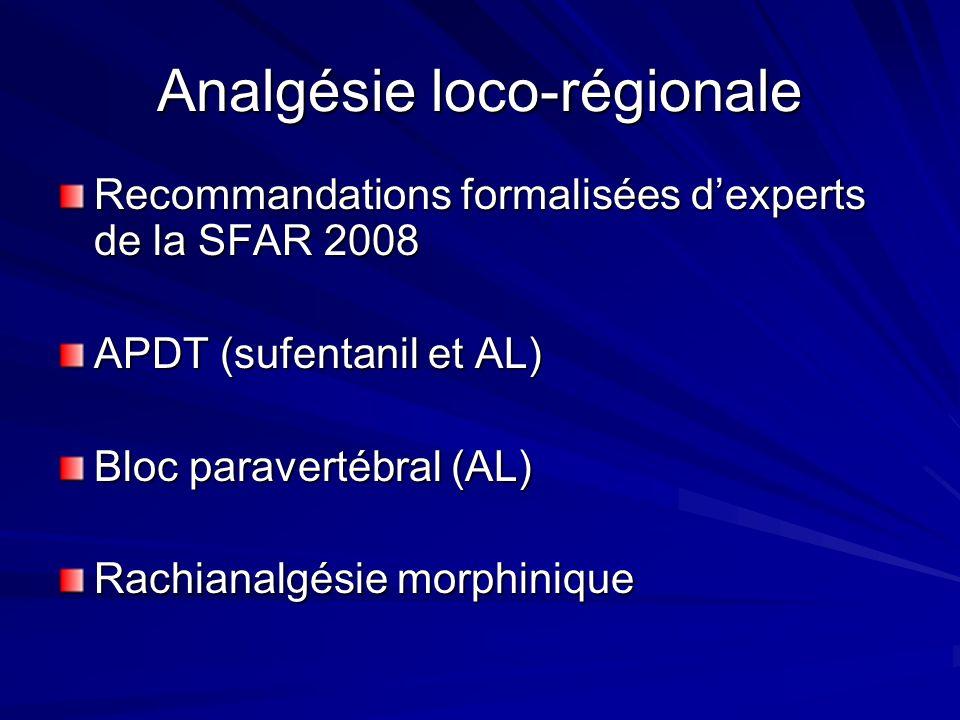 Analgésie loco-régionale Recommandations formalisées dexperts de la SFAR 2008 APDT (sufentanil et AL) Bloc paravertébral (AL) Rachianalgésie morphiniq