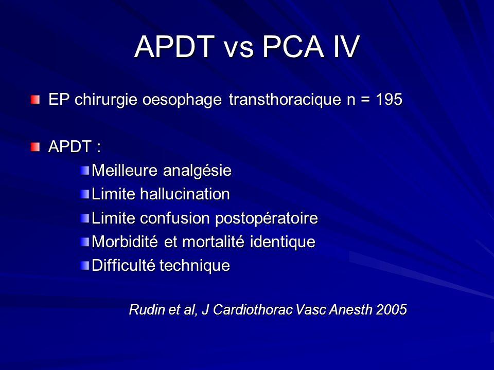 APDT vs PCA IV EP chirurgie oesophage transthoracique n = 195 APDT : Meilleure analgésie Limite hallucination Limite confusion postopératoire Morbidit