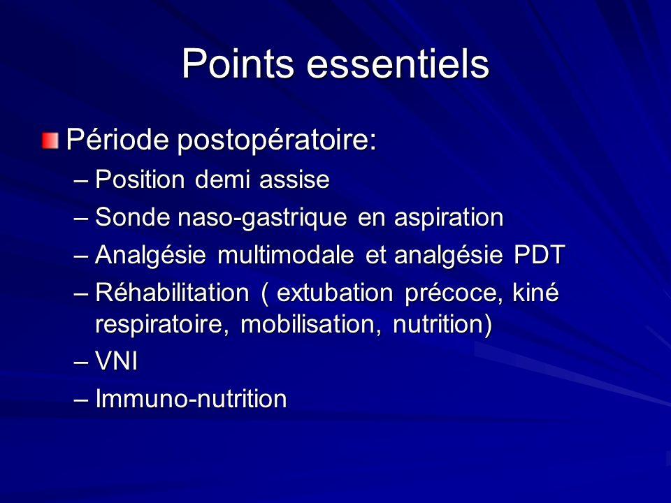 Points essentiels Période postopératoire: –Position demi assise –Sonde naso-gastrique en aspiration –Analgésie multimodale et analgésie PDT –Réhabilit