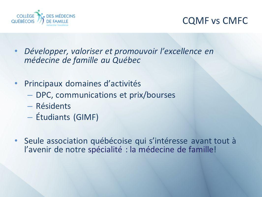 CQMF vs CMFC Développer, valoriser et promouvoir lexcellence en médecine de famille au Québec Principaux domaines dactivités – DPC, communications et