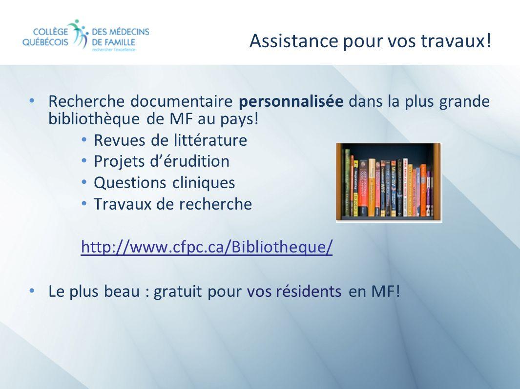 Assistance pour vos travaux! Recherche documentaire personnalisée dans la plus grande bibliothèque de MF au pays! Revues de littérature Projets dérudi