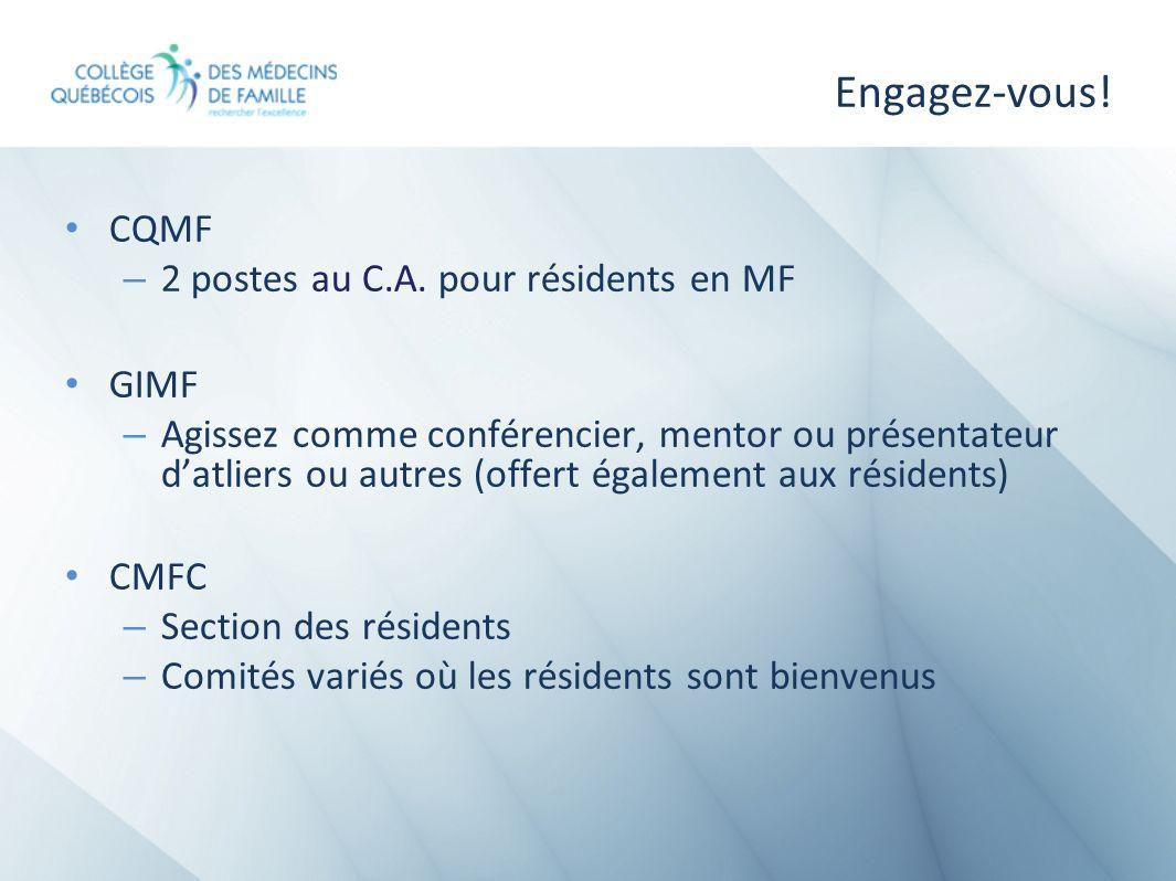 Engagez-vous! CQMF – 2 postes au C.A. pour résidents en MF GIMF – Agissez comme conférencier, mentor ou présentateur datliers ou autres (offert égalem
