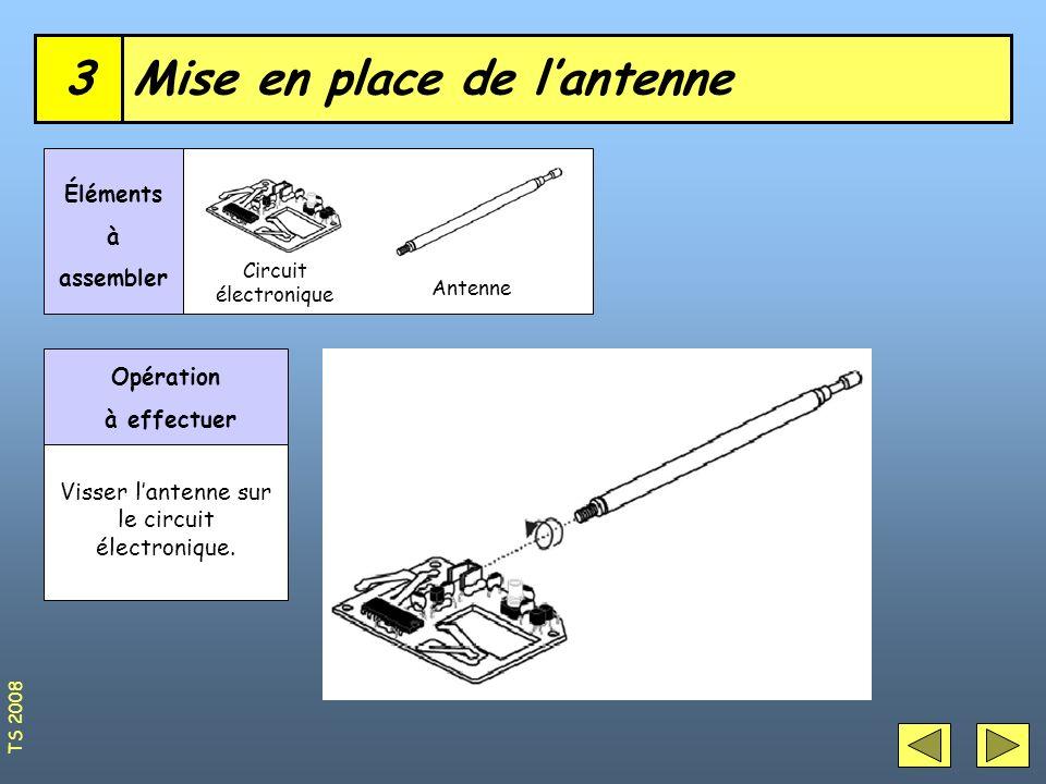 Mise en place de lantenne3 Circuit électronique Éléments à assembler Antenne Opération à effectuer Visser lantenne sur le circuit électronique. TS 200