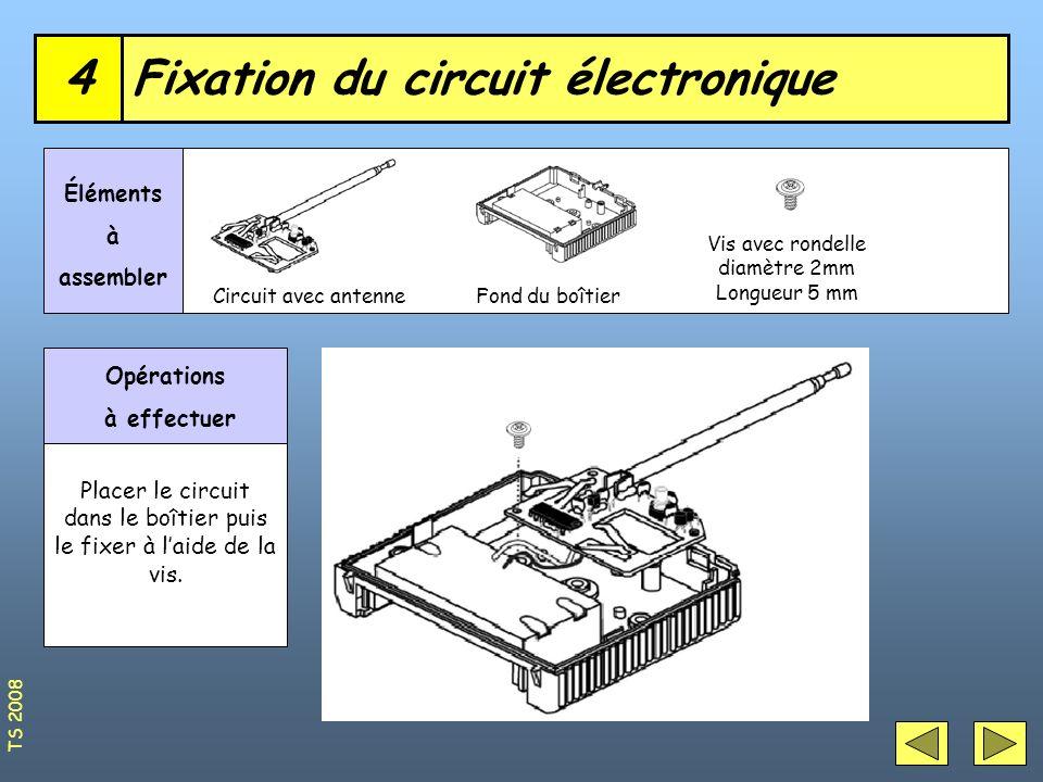 Fixation du circuit électronique4 Circuit avec antenne Éléments à assembler Opérations à effectuer Placer le circuit dans le boîtier puis le fixer à l