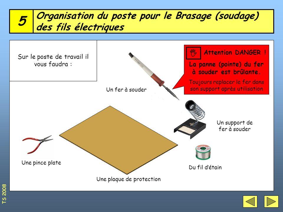 Organisation du poste pour le Brasage (soudage) des fils électriques 5 Sur le poste de travail il vous faudra : Un support de fer à souder Du fil déta