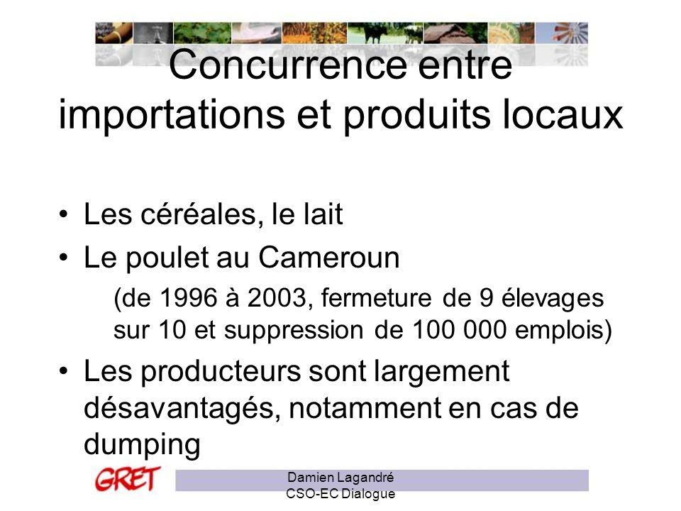 Le rôle des subventions dans ces exportations Damien Lagandré CSO-EC Dialogue