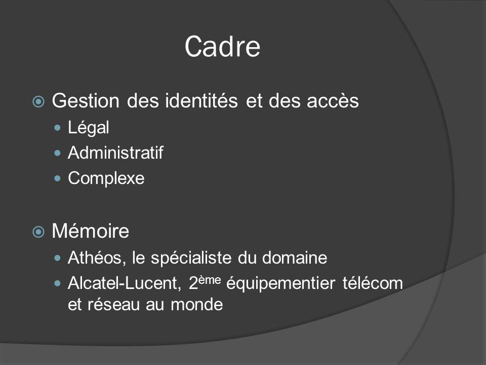 Cadre Gestion des identités et des accès Légal Administratif Complexe Mémoire Athéos, le spécialiste du domaine Alcatel-Lucent, 2 ème équipementier télécom et réseau au monde