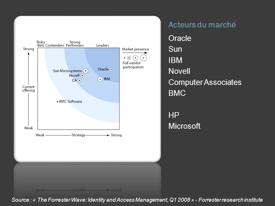 Acteurs du marché Oracle Sun IBM Novell Computer Associates BMC HP Microsoft Source : « The Forrester Wave: Identity and Access Management, Q1 2008 » - Forrester research institute