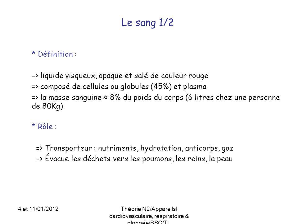 * Définition : => liquide visqueux, opaque et salé de couleur rouge => composé de cellules ou globules (45%) et plasma => la masse sanguine 8% du poid