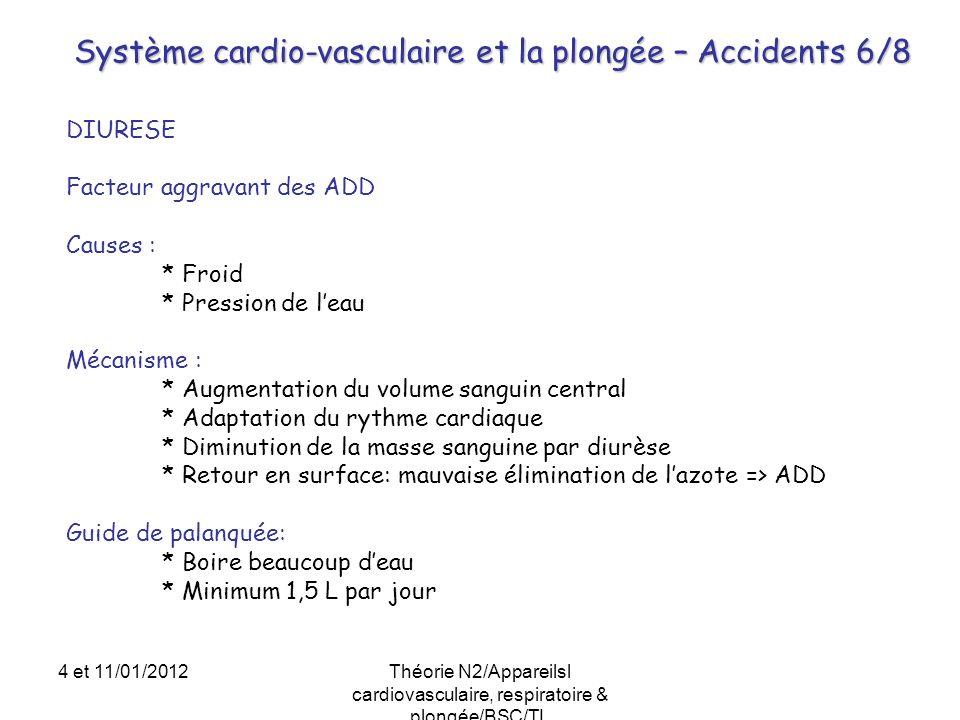 Système cardio-vasculaire et la plongée – Accidents 6/8 DIURESE Facteur aggravant des ADD Causes : * Froid * Pression de leau Mécanisme : * Augmentati