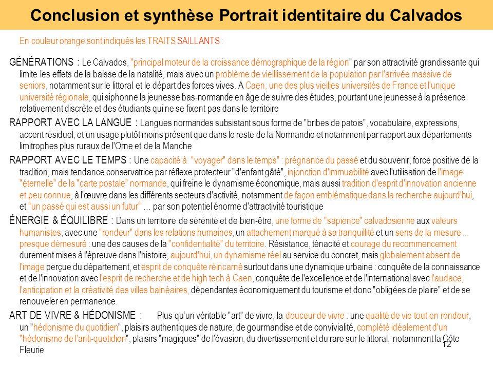 12 En couleur orange sont indiqués les TRAITS SAILLANTS : GÉNÉRATIONS : Le Calvados,