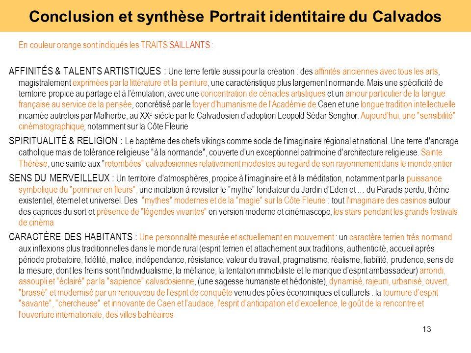 13 En couleur orange sont indiqués les TRAITS SAILLANTS : AFFINITÉS & TALENTS ARTISTIQUES : Une terre fertile aussi pour la création : des affinités a