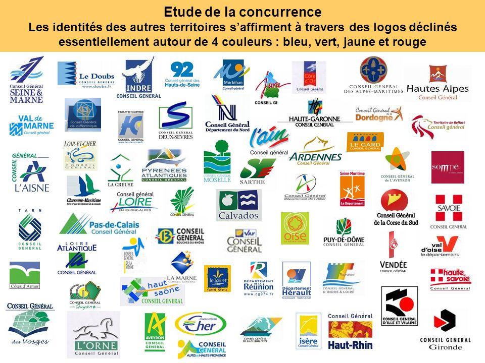 44 Etude de la concurrence Les identités des autres territoires saffirment à travers des logos déclinés essentiellement autour de 4 couleurs : bleu, v