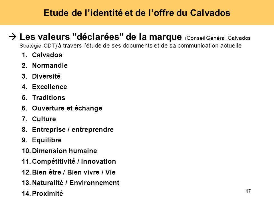 47 Etude de lidentité et de loffre du Calvados Les valeurs