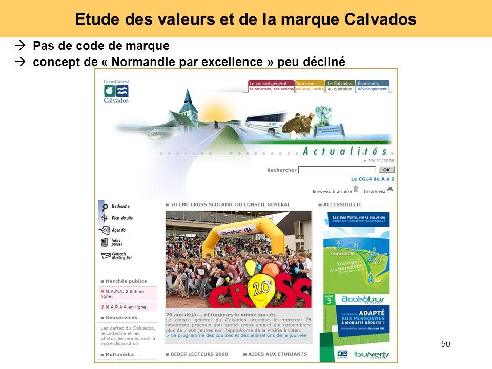 50 Etude des valeurs et de la marque Calvados Pas de code de marque concept de « Normandie par excellence » peu décliné