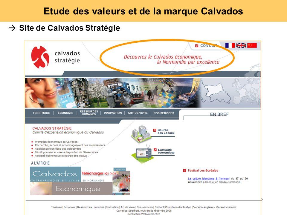 52 Etude des valeurs et de la marque Calvados Site de Calvados Stratégie