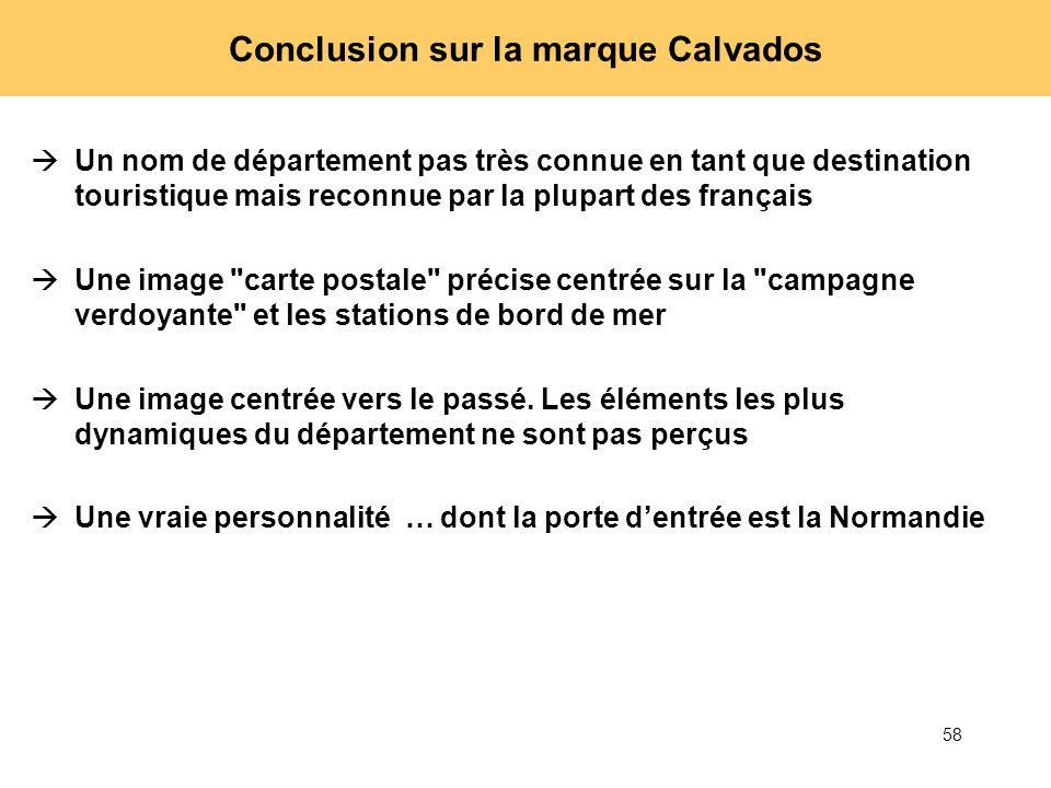 58 Conclusion sur la marque Calvados Un nom de département pas très connue en tant que destination touristique mais reconnue par la plupart des frança