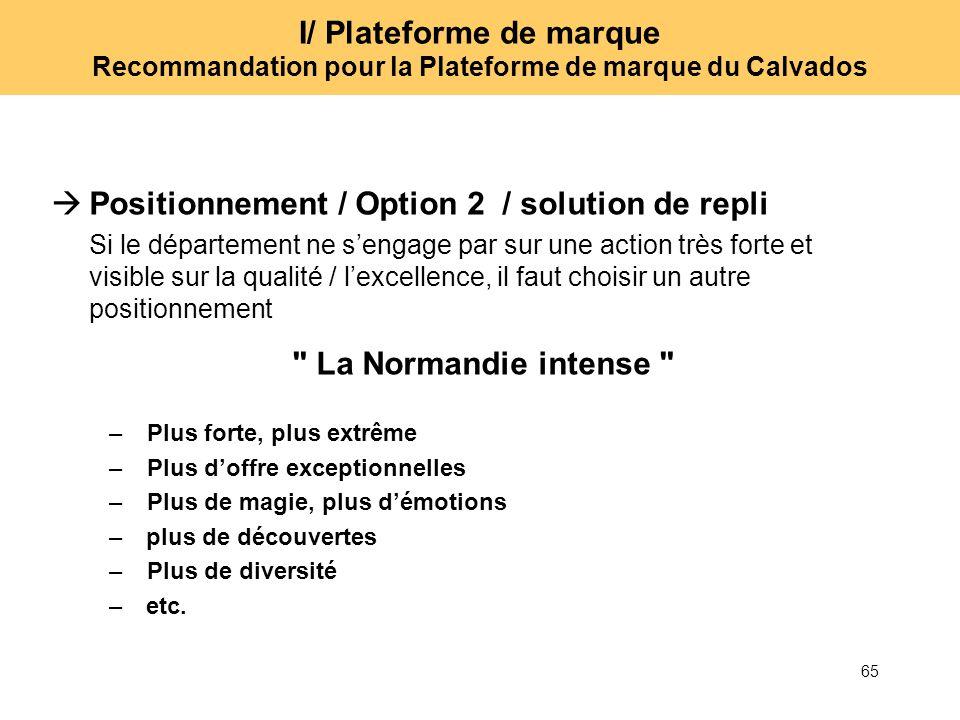 65 I/ Plateforme de marque Recommandation pour la Plateforme de marque du Calvados Positionnement / Option 2 / solution de repli Si le département ne
