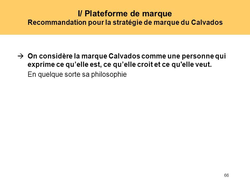 66 I/ Plateforme de marque Recommandation pour la stratégie de marque du Calvados On considère la marque Calvados comme une personne qui exprime ce qu
