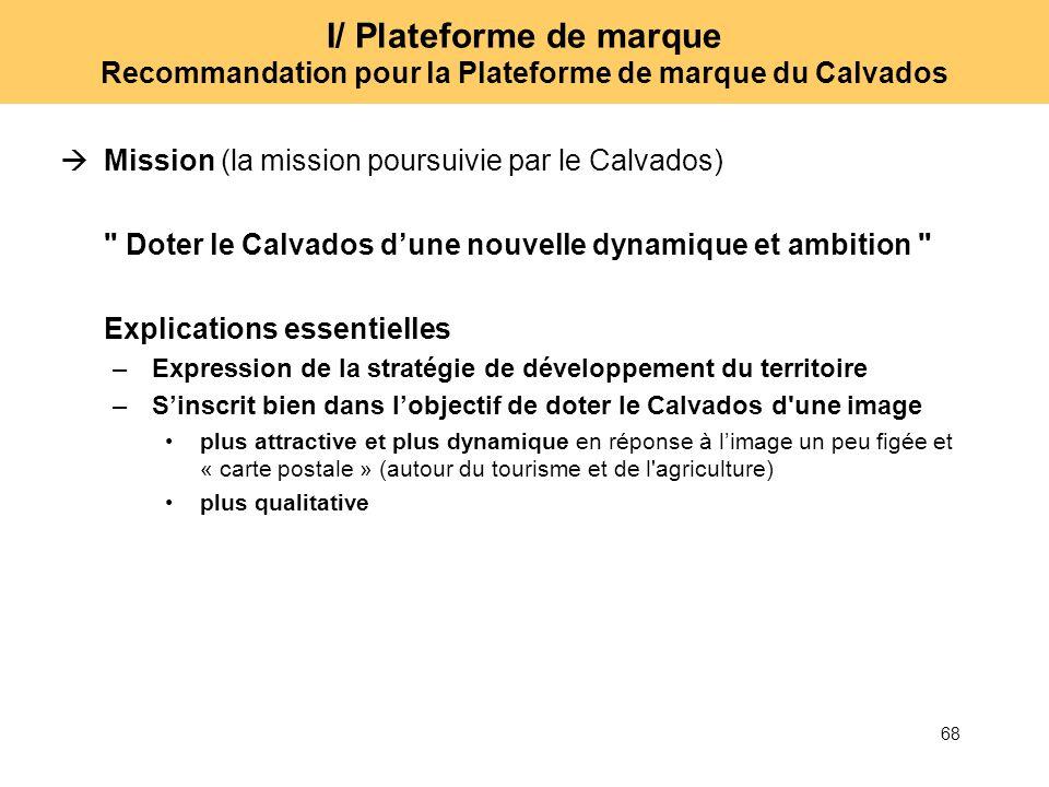 68 I/ Plateforme de marque Recommandation pour la Plateforme de marque du Calvados Mission (la mission poursuivie par le Calvados)
