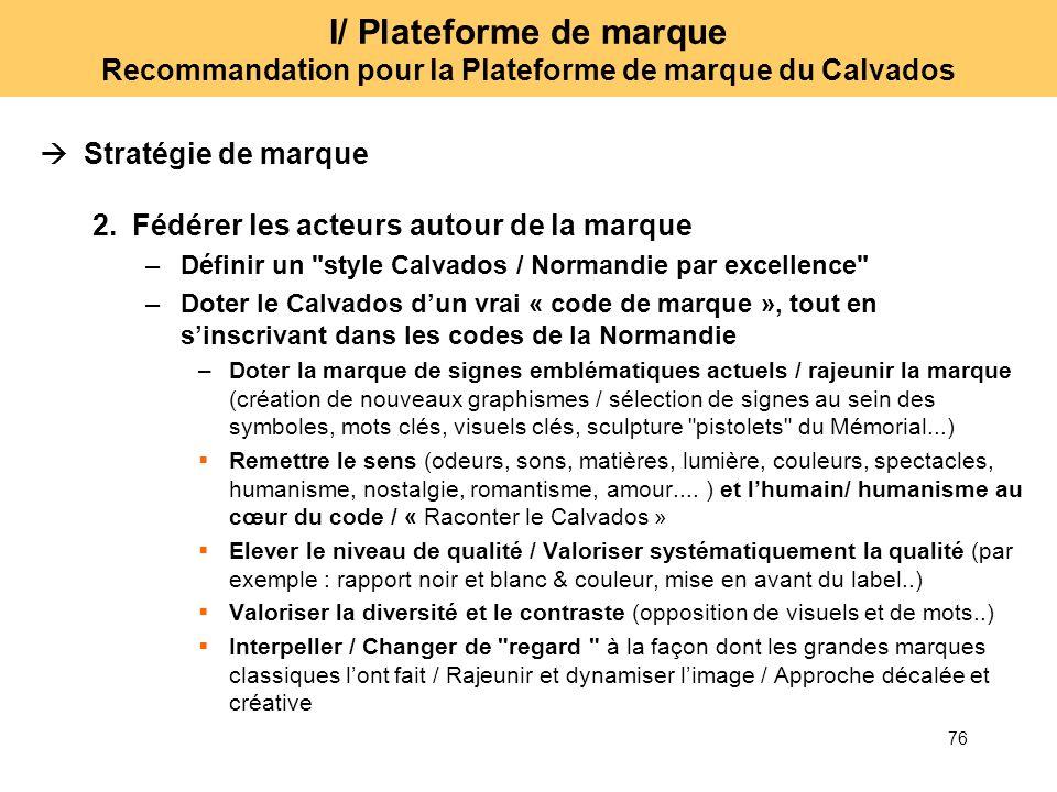 76 I/ Plateforme de marque Recommandation pour la Plateforme de marque du Calvados Stratégie de marque 2.Fédérer les acteurs autour de la marque –Défi