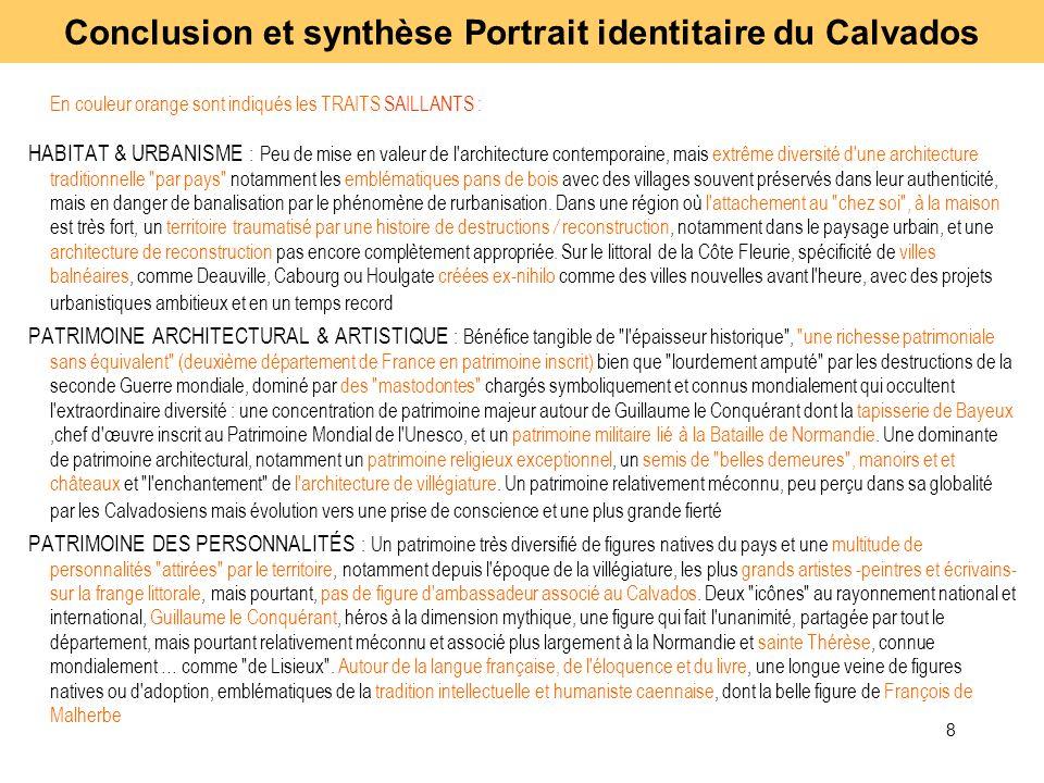 8 En couleur orange sont indiqués les TRAITS SAILLANTS : HABITAT & URBANISME : Peu de mise en valeur de l'architecture contemporaine, mais extrême div