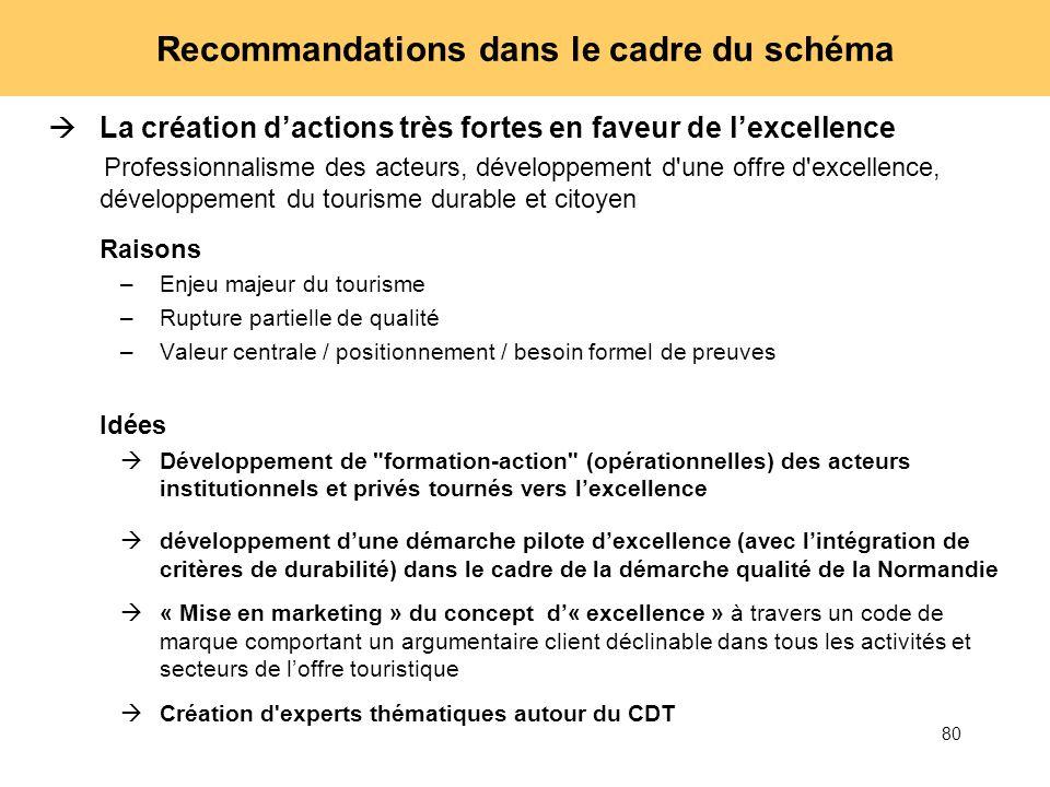 80 Recommandations dans le cadre du schéma La création dactions très fortes en faveur de lexcellence Professionnalisme des acteurs, développement d'un