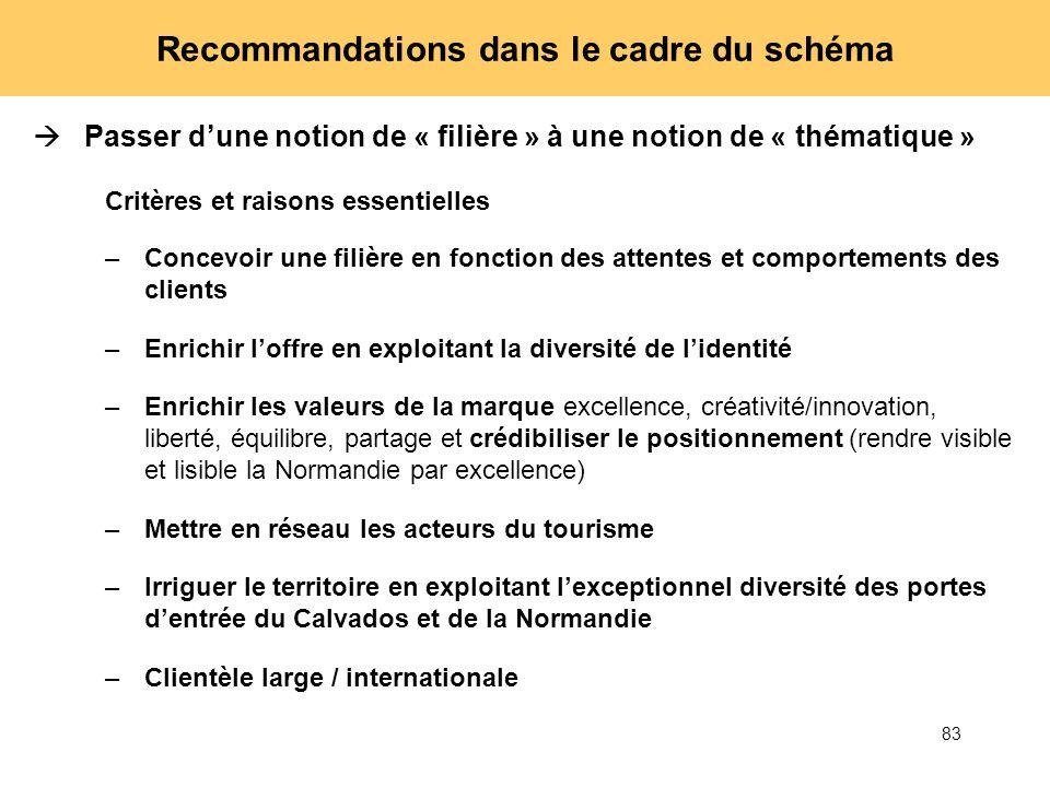 83 Recommandations dans le cadre du schéma Passer dune notion de « filière » à une notion de « thématique » Critères et raisons essentielles –Concevoi