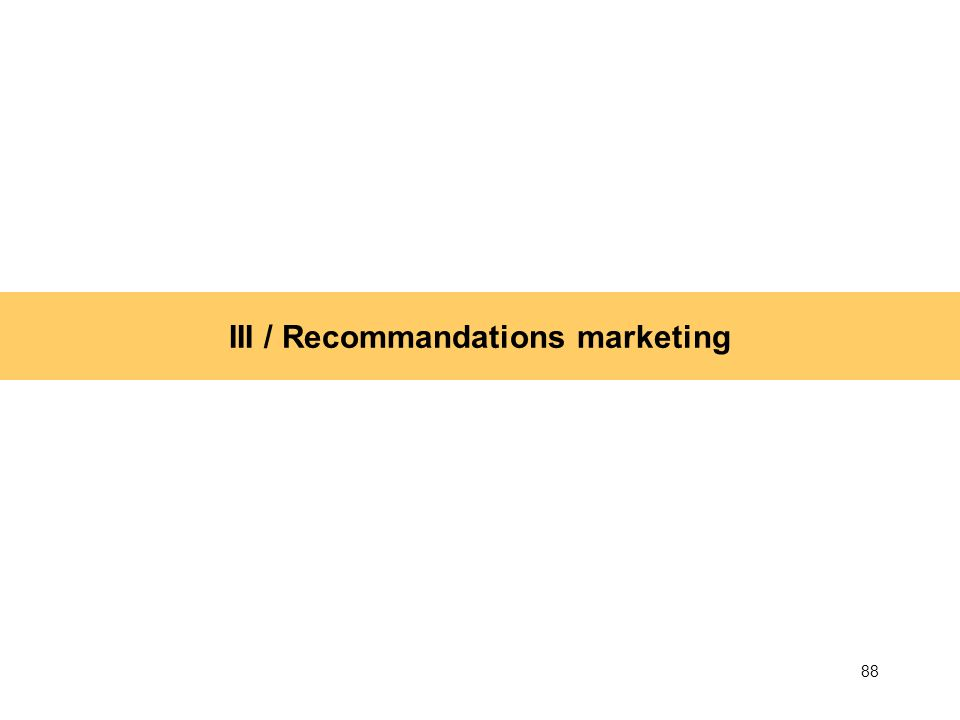 88 III / Recommandations marketing