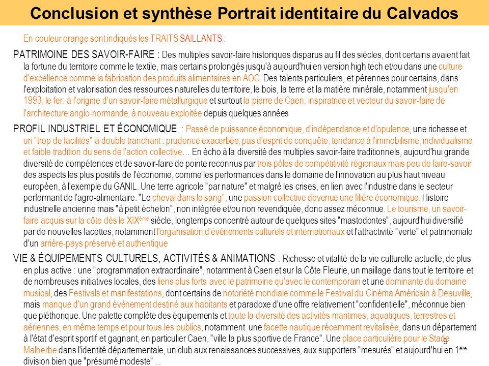 9 En couleur orange sont indiqués les TRAITS SAILLANTS : PATRIMOINE DES SAVOIR-FAIRE : Des multiples savoir-faire historiques disparus au fil des sièc