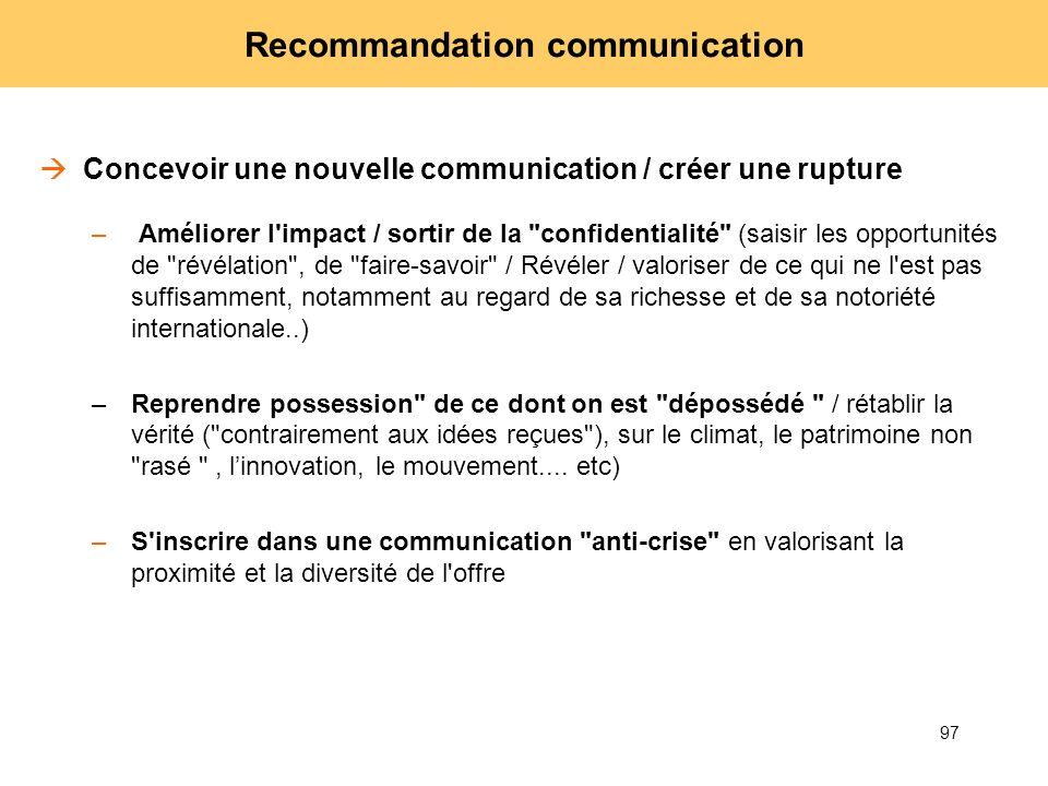 97 Recommandation communication Concevoir une nouvelle communication / créer une rupture – Améliorer l'impact / sortir de la
