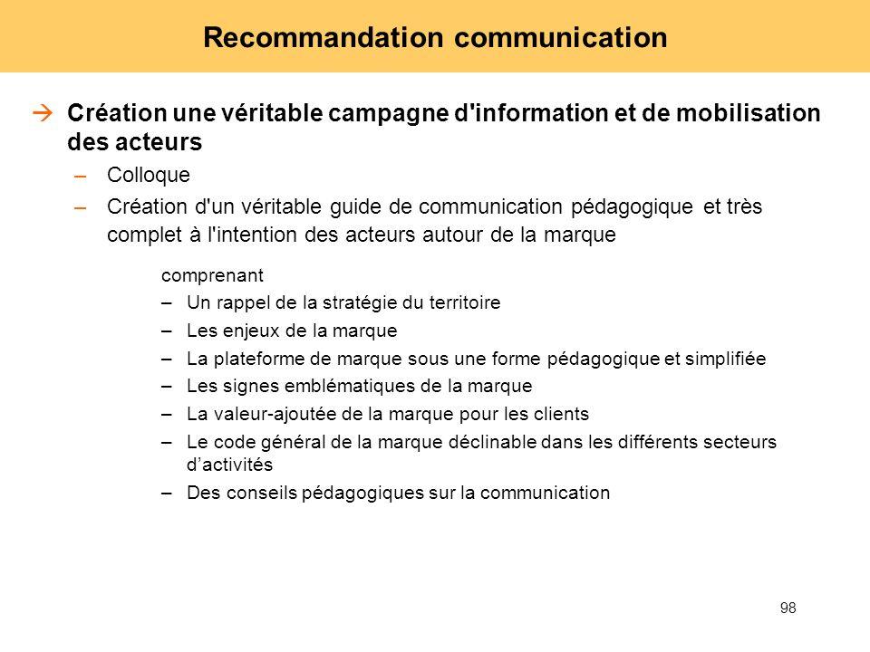 98 Recommandation communication Création une véritable campagne d'information et de mobilisation des acteurs –Colloque –Création d'un véritable guide
