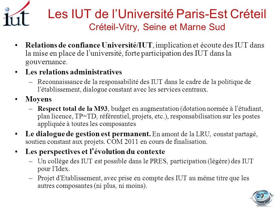 Les IUT de lUniversité Paris-Est Créteil Créteil-Vitry, Seine et Marne Sud Relations de confiance Université/IUT, implication et écoute des IUT dans l