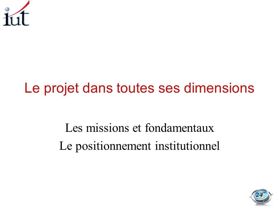 Le projet dans toutes ses dimensions Les missions et fondamentaux Le positionnement institutionnel 24