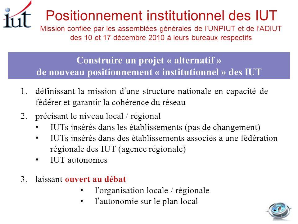 Positionnement institutionnel des IUT Construire un projet « alternatif » de nouveau positionnement « institutionnel » des IUT 1.définissant la missio
