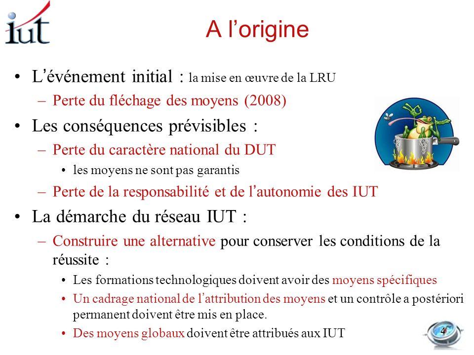 A lorigine Lévénement initial : la mise en œuvre de la LRU –Perte du fléchage des moyens (2008) Les conséquences prévisibles : –Perte du caractère nat