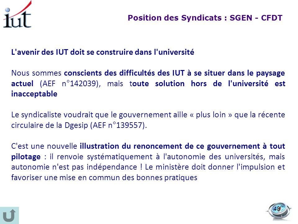 L'avenir des IUT doit se construire dans l'université Nous sommes conscients des difficultés des IUT à se situer dans le paysage actuel (AEF n°142039)