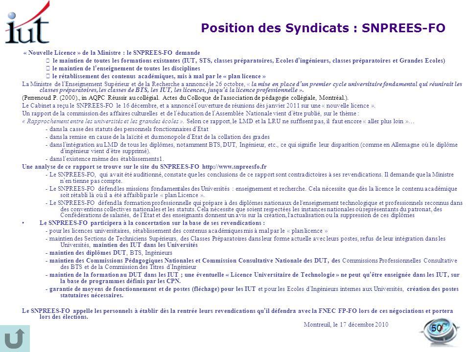 50 « Nouvelle Licence » de la Ministre : le SNPREES-FO demande le maintien de toutes les formations existantes (IUT, STS, classes préparatoires, Ecole
