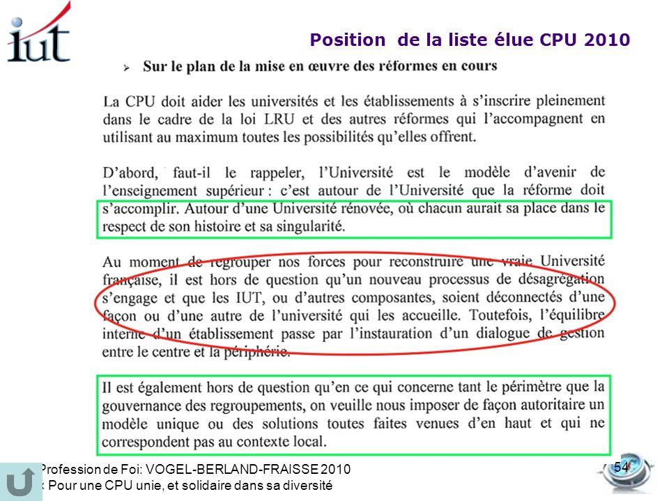 Position de la liste élue CPU 2010 Profession de Foi: VOGEL-BERLAND-FRAISSE 2010 « Pour une CPU unie, et solidaire dans sa diversité 54