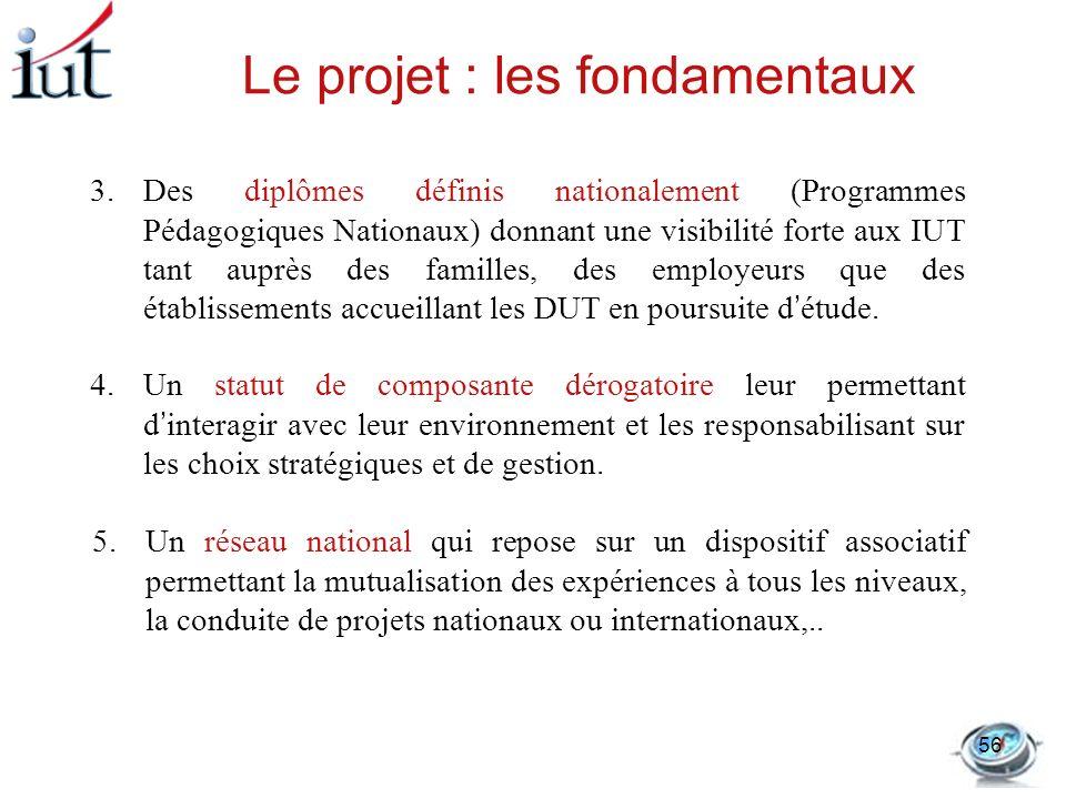 Le projet : les fondamentaux 3.Des diplômes définis nationalement (Programmes Pédagogiques Nationaux) donnant une visibilité forte aux IUT tant auprès