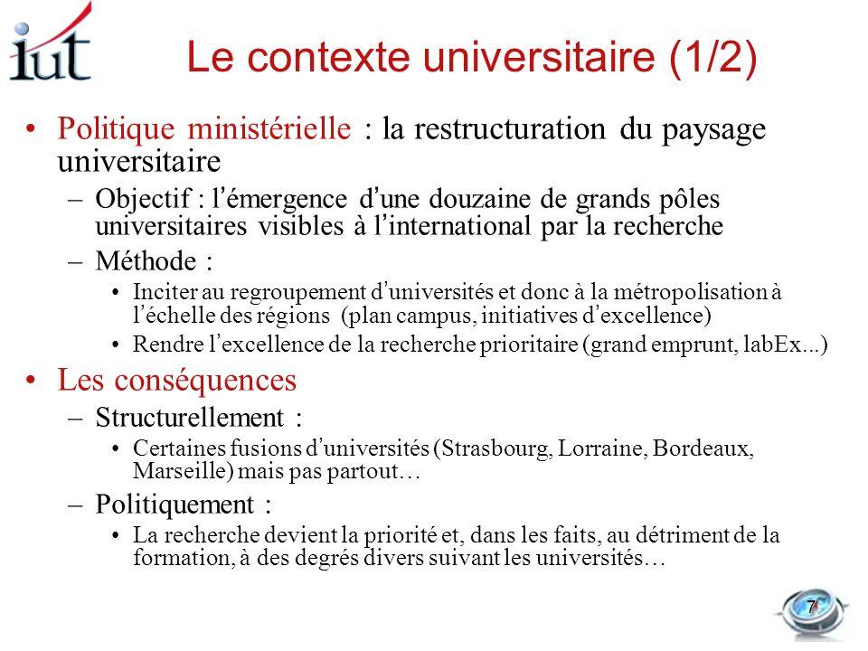 Le contexte universitaire (1/2) Politique ministérielle : la restructuration du paysage universitaire –Objectif : lémergence dune douzaine de grands p