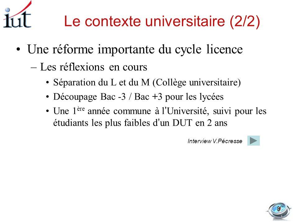 la Ministre et la licence Interview dans Le Monde 12/01/2011 Journaliste : Vous avez évoqué la création de pôles universitaires de proximité , est-ce une transformation des petites universités en collèges universitaires .