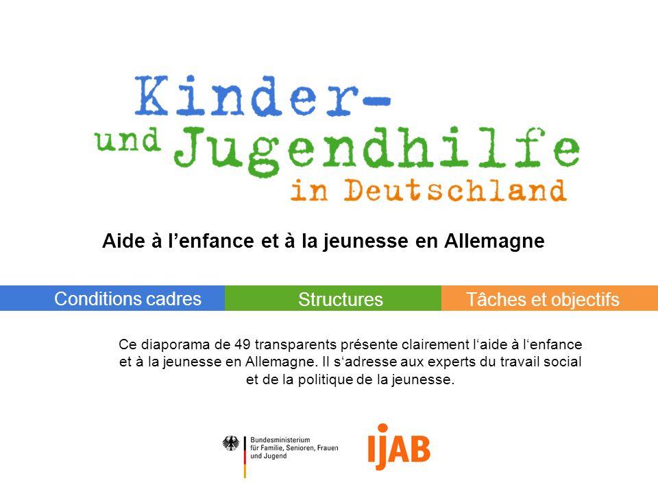 © 2007 Tâches et objectifsStructures Conditions cadres Aide à lenfance et à la jeunesse en Allemagne Ce diaporama de 49 transparents présente claireme