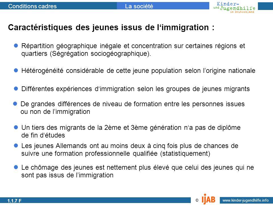 2009 www.kinder-jugendhilfe.info © Conditions cadresLa société 1.1.1a Caractéristiques des jeunes issus de limmigration : Répartition géographique iné