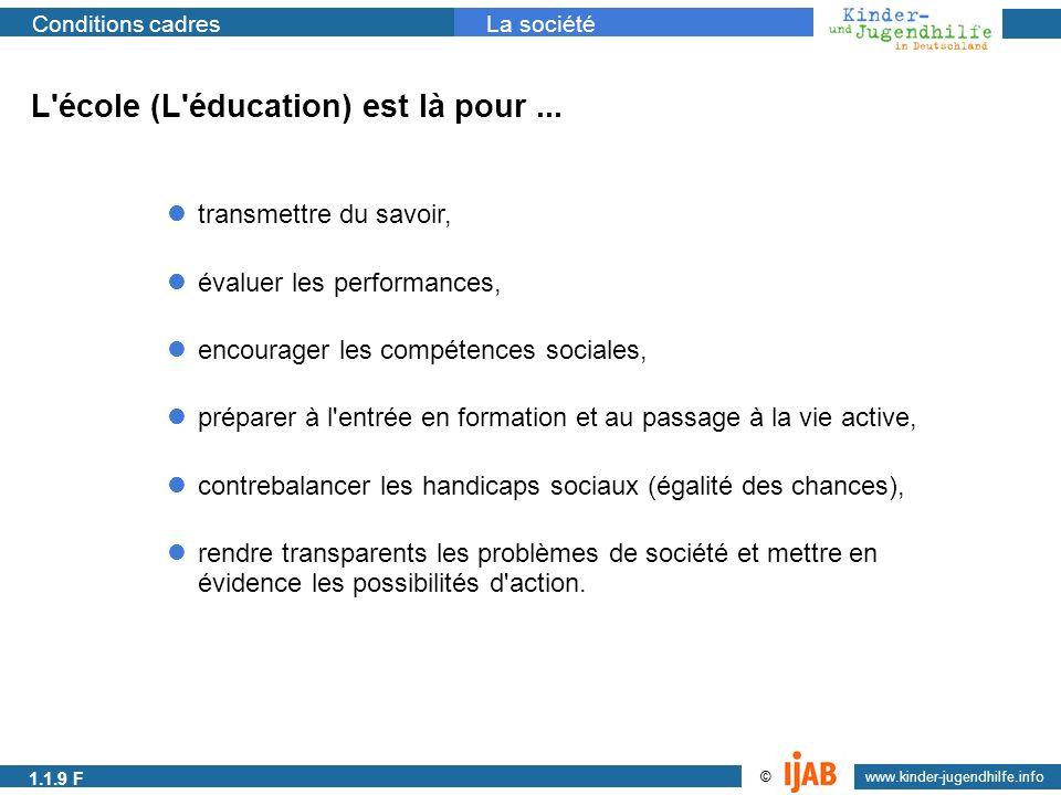 2009 www.kinder-jugendhilfe.info © Conditions cadresLa société L'école (L'éducation) est là pour... préparer à l'entrée en formation et au passage à l