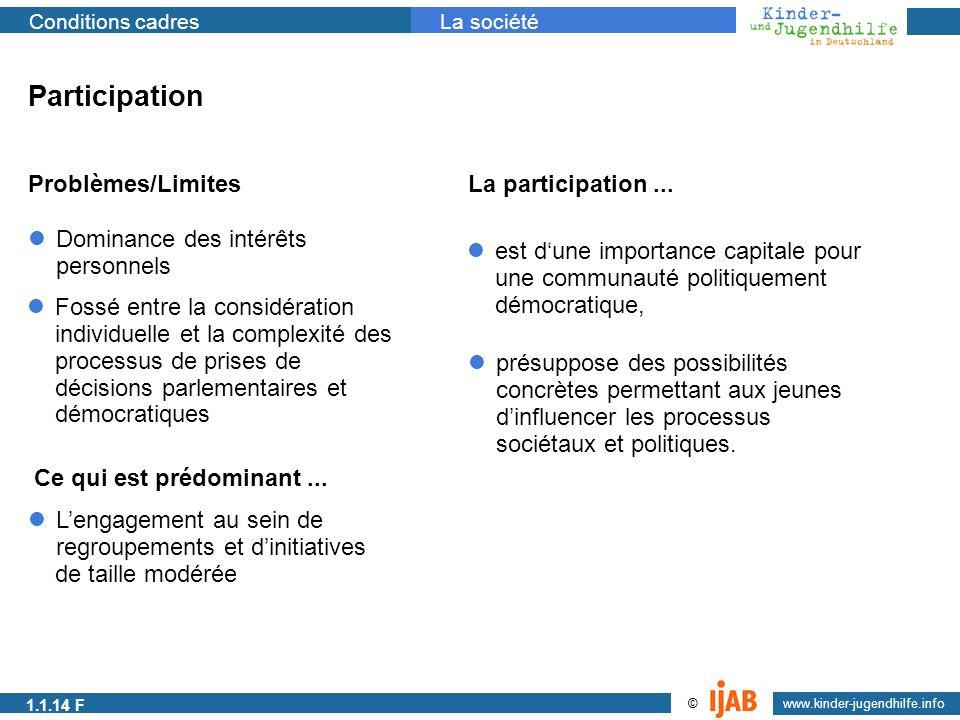 2009 www.kinder-jugendhilfe.info © Conditions cadresLa société Participation Problèmes/LimitesLa participation... Fossé entre la considération individ