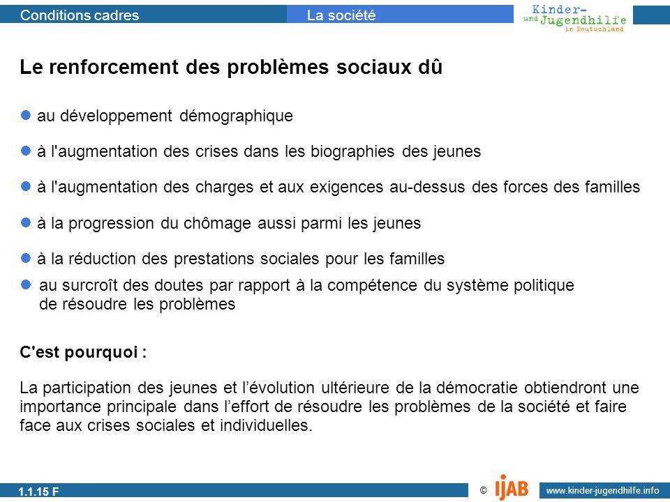 2009 www.kinder-jugendhilfe.info © Conditions cadresLa société Le renforcement des problèmes sociaux dû au développement démographique à l'augmentatio