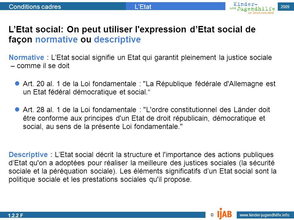 www.kinder-jugendhilfe.info © Conditions cadresLEtat 2009 Art. 20 al. 1 de la Loi fondamentale :