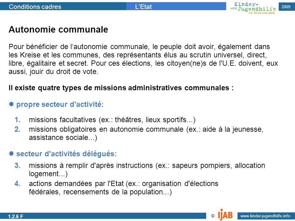 www.kinder-jugendhilfe.info © Conditions cadresLEtat 2009 Autonomie communale Pour bénéficier de lautonomie communale, le peuple doit avoir, également